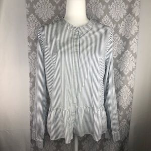 Crown & Ivy pinstripe button up blouse
